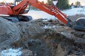 image of excavator  - Crawler excavator Tractor Digging a Trench on the roadside - JPG
