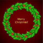 Christmas holly wreath. Vector christmas decoration - holly wreath with berries, on red background.