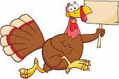 Happy Turkey Bird Cartoon Character Running With A Blank Wood Sign