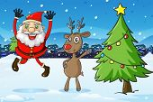 Illustration of Santa and a deer beside the christmas tree