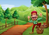 Illustration of a cheerful woodman near the pathway going to the hill