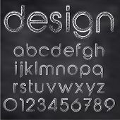 foto of hand alphabet  - Abstract Vector Illustration Of Chalk Sketched Font On Blackboard - JPG