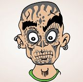 cartoon illustration of bald boy with sugar skull makeup and ear rings