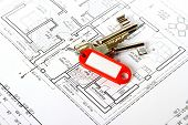 Bunch Of Keys With Red Keychains At Building Drawing