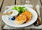 Turkey Patties With Yogurt, Sour Cream And Mustard Sauce