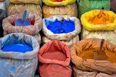 foto of pigment  - sacks with paint pigment in different colors for sale - JPG