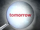 Time concept: Tomorrow with optical glass