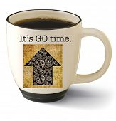 It's Go time! A hot cup of black coffee with an up arrow filled with gears. Concept of motivation, c