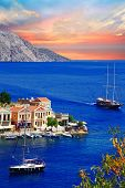 sailing in Greek islands. Symi. Dodecanes