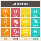 stock photo of sagittarius  - Zodiac signs with captions in flat style - JPG