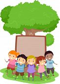 Illustration of Kids Huddled Together in Front of a Blank Board Nailed to a Tree