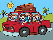 stock photo of road trip  - Family going for a long drive with luggage strapped to the roof of the car - JPG