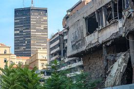 stock photo of former yugoslavia  - Former defense agency bombed by Nato in Belgrade - JPG