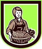 Woman Organic Farmer Farm Produce Harvest Retro