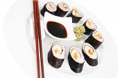 Maki Sushi : Maki Rolls and California rolls made of fresh raw Salmon(sake), Tuna(maguro) and Eel(un