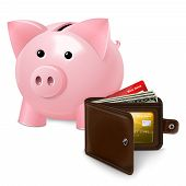 Piggy bank with wallet poster