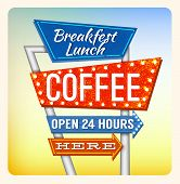 picture of motel  - Retro Neon Sign Coffee and Breakfest lettering in the style of American roadside advertising vintage style 1950s - JPG