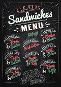Sandwiches menu chalk color