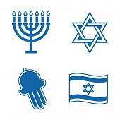 stock photo of hamsa  - Vector Jewish icons isolated on white background - JPG