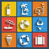 Set of 9 summer vector web and mobile icons in flat design