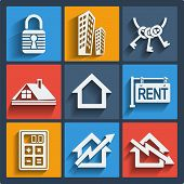 Set of 9 vector real estate web and mobile icons