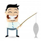 funny businessman with big fish