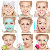 Collage with nine emotional portraits of young beautiful healthy happy girl. Morning, hygiene, beauty.