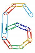 Paperclips Arranged Into The Shape Of The Number 6.