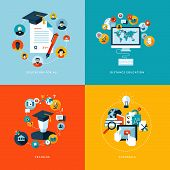 stock photo of online education  - Icons for education for all - JPG