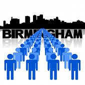Lines of people with Birmingham skyline vector illustration