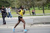 BELGRADE, SERBIA - APRIL 27: An unidentified woman runs in 26th Belgrade Marathon on April 27, 2014