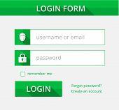 Green Register Form Suitable For Flat Design, Illustration