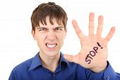 Teenager With Stop Gesture