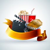 Popcorn box, disposable cup for beverages with straw, film strip, ticket and clapper board. Detailed