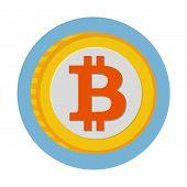 stock photo of bitcoin  - Bitcoin flat icon  - JPG