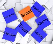 Brand Post-it Note Means Company Marketing And Identity