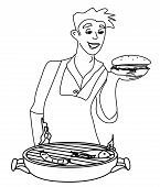 Man Cooking On His Barbecue - Funny Doodle Illustration
