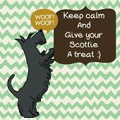 image of scottie dog  - Cute card template with sketch of a sweet standing Scottish terrier and figure frames for the text on doodle chevron background - JPG