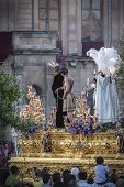 Brotherhood Of Jesus Corsage Making Station Of Penitence In Front At The Town Hall, Linares, Jaen Pr