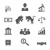 Set of black and white financial stock icons