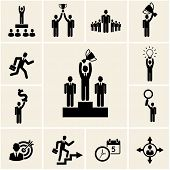 pic of trophy  - Set of vector business and career icons depicting achievement and reward with a man holding a trophy  winner  leadership  promotion  lightbulb  dollar  magnifying glass  target  clock and calendar - JPG