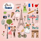 Постер, плакат: Paris France landmarks and icons
