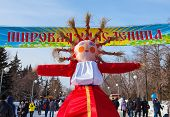 Shrovetide In Russia. Big Doll For The Burning.