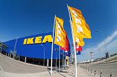 Ikea Flags Against Sky At The Ikea Samara Store