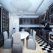 Black And White Kitchen Interior With Dining Area