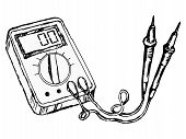 picture of  multimeter  - hand drawn cartoon sketch illustration of multimete - JPG