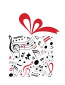 foto of g clef  - Music concept vector of gift box with red ribbon and full of music notes - JPG