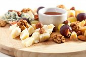 stock photo of cheese platter  - Cheese Plate with Grapes - JPG