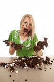 Woman Green Shirt With Cake Mouth Open Hands Out Messy