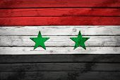 Syria flag painted on wooden boards